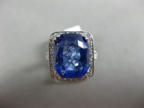 ESTATE EXTRA LARGE 12.25CT DIAMOND & AAA SAPPHIRE 14K WHITE GOLD ENGAGEMENT RING