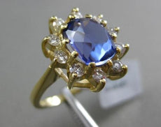 ESTATE 3.48CT DIAMOND & OVAL TANZANITE 18K YELLOW GOLD 3D FLOWER ENGAGEMENT RING