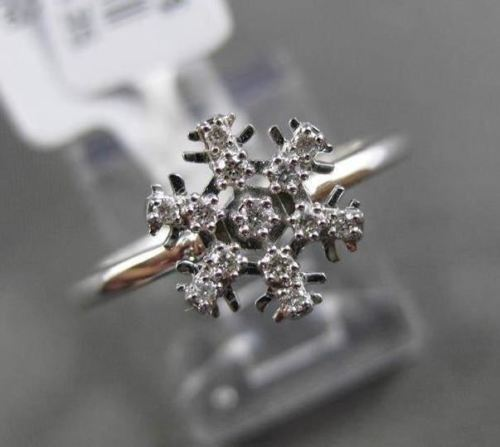 ANTIQUE .09CT DIAMOND 18KT WHITE GOLD 3D PAVE SNOW FLAKE RING SIMPLY BEAUTIFUL