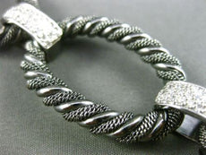 ESTATE WIDE & LONG 1.45CT DIAMOND 14K WHITE & BLACK GOLD MESH ROPE LINK BRACELET