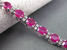 ESTATE 14.60CT AAA RUBY & ROUND DIAMOND 18KT WHITE GOLD CLASSIC TENNIS BRACELET