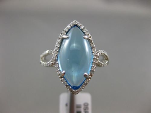 WIDE 4.66CT DIAMOND & AAA MARQUISE SHAPE BLUE TOPAZ 14K WHITE GOLD CABACHON RING