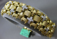 ESTATE WIDE & LONG 1.10CT DIAMOND 18K WHITE & YELLOW GOLD 3D MULTI LINK BRACELET