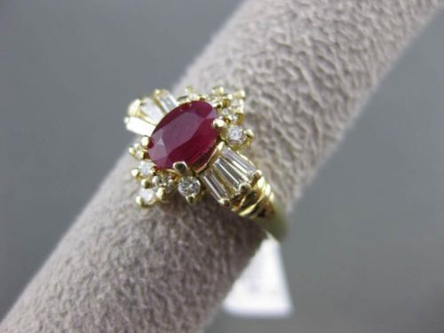 ANTIQUE 1.05CT DIAMOND & AAA RUBY 14KT YELLOW GOLD CLUSTER ENGAGEMENT RING