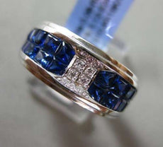 ESTATE WIDE 3.20CT DIAMOND & AAA PRINCESS SAPPHIRE 18KT WHITE GOLD 3D MENS RING