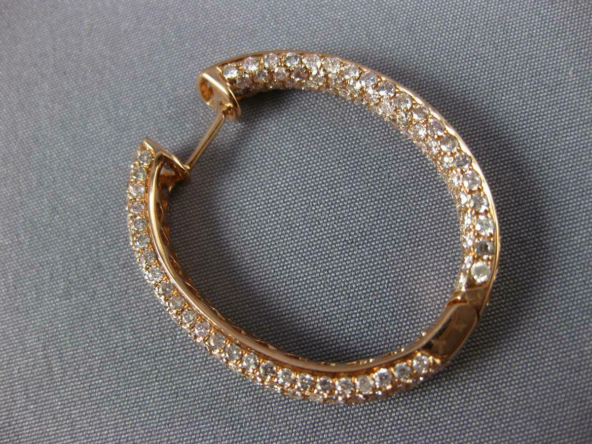 LARGE 6.08CT PINK DIAMOND 18KT ROSE GOLD MULTI ROW INSIDE OUT 3D HOOP EARRINGS