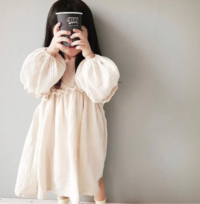 Toddler Linen Ruffled Dress Classical Japanese Style