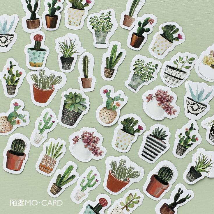 45 Pieces Plants and Cactus Stationery Decorative Stickers