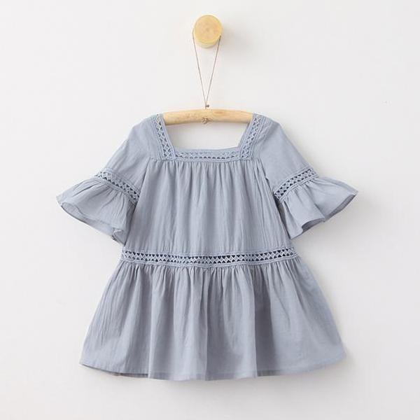 Kids Embroidered Cotton Dress Korean Style Embroidered Toddler Dress