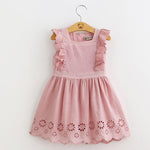 Girl Cotton Eyelet Dress Embroidered Sleeveless Baby Toddler Kids