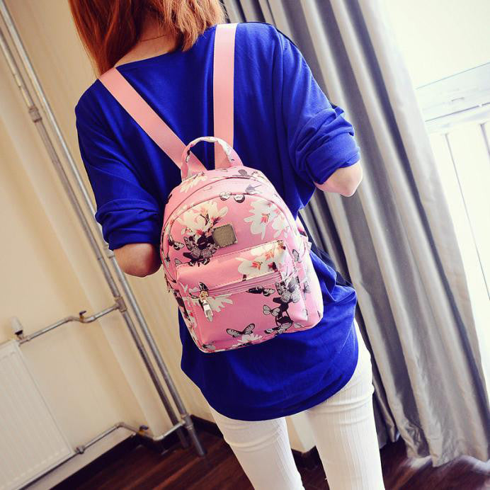 Ladies Casual Floral Print Leather Backpack