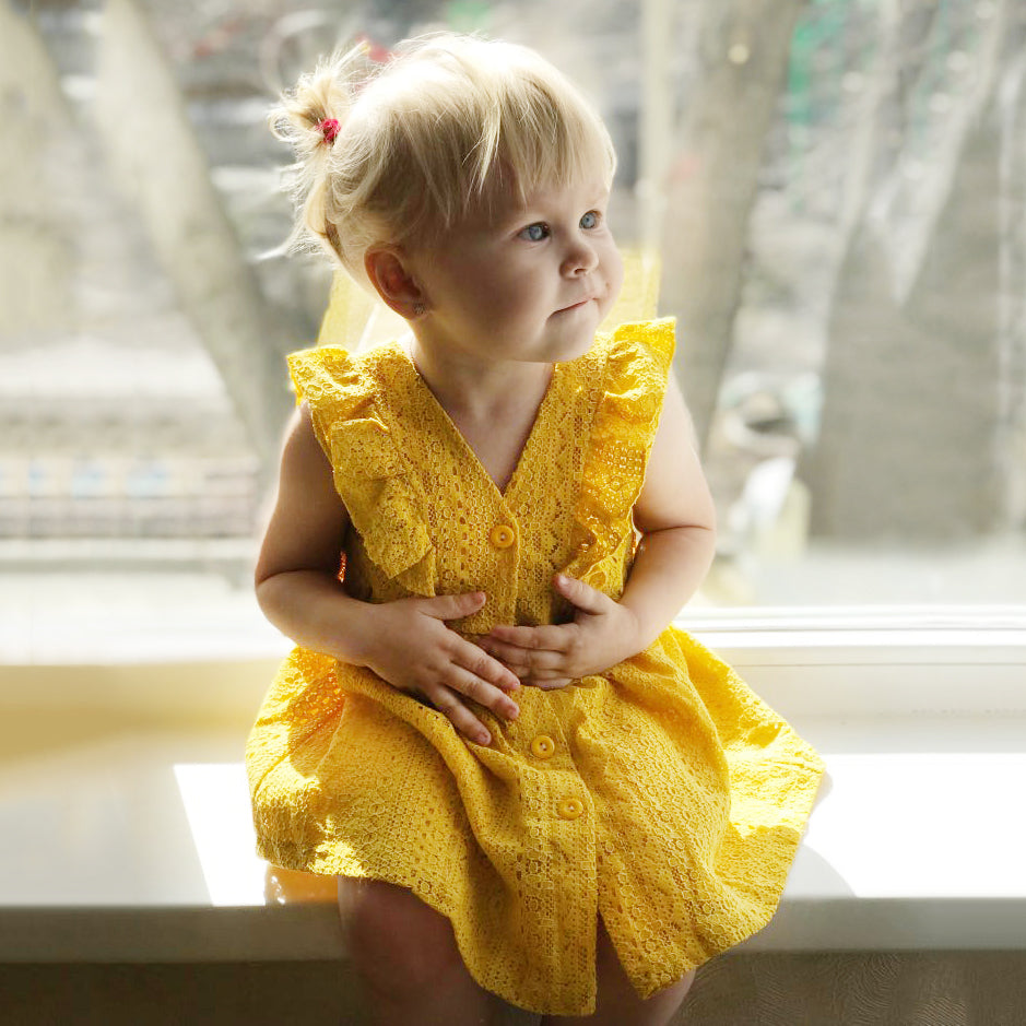 Embroidered Yellow Kid's Dress