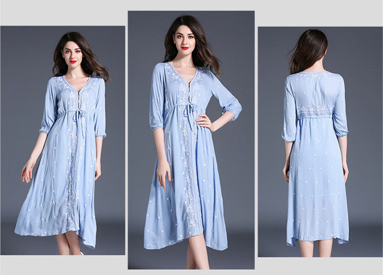 Embroidered Ladies Casual Dress