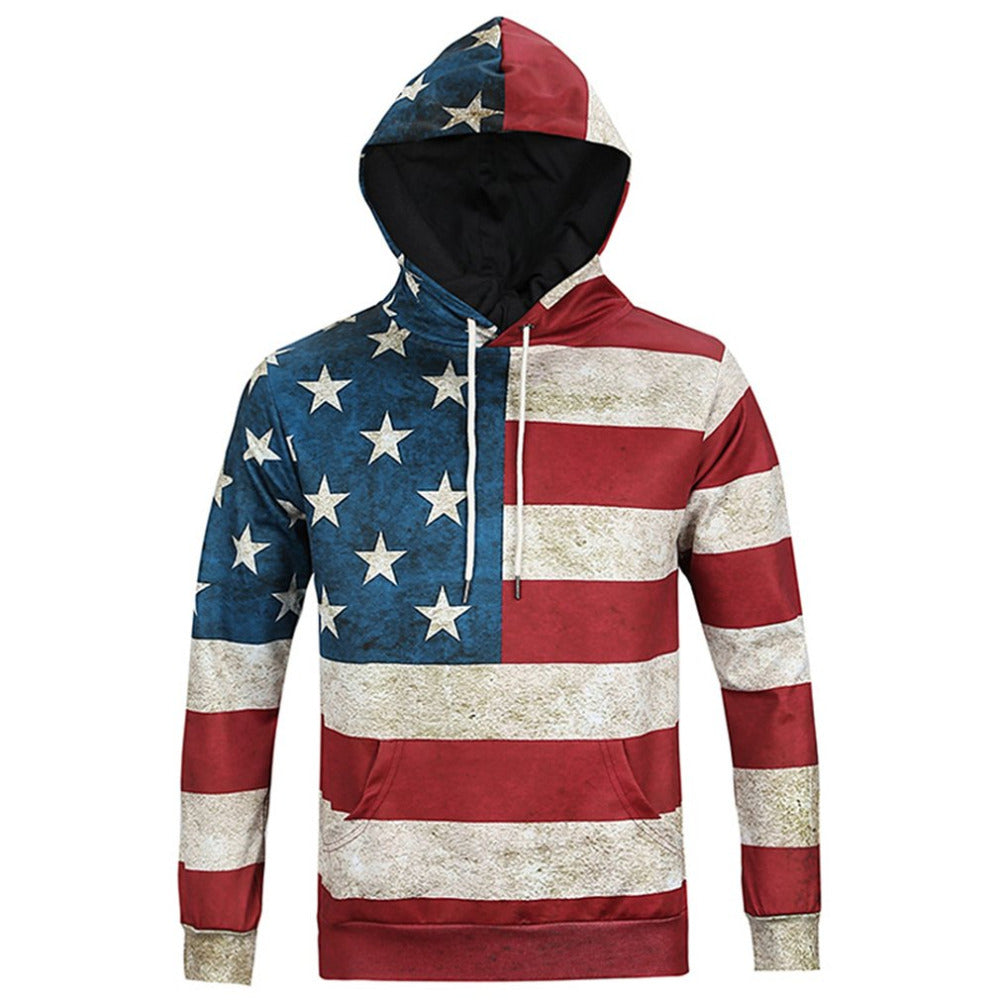 Unisex Star Spangled Grunge Hooded Autumn/Winter Sweatshirt