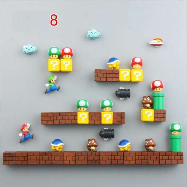 Super Mario Fridge Magnets Action Figures