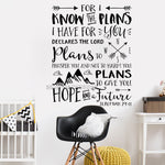 Jeremiah 29:11 Wall Art Decal Stickers