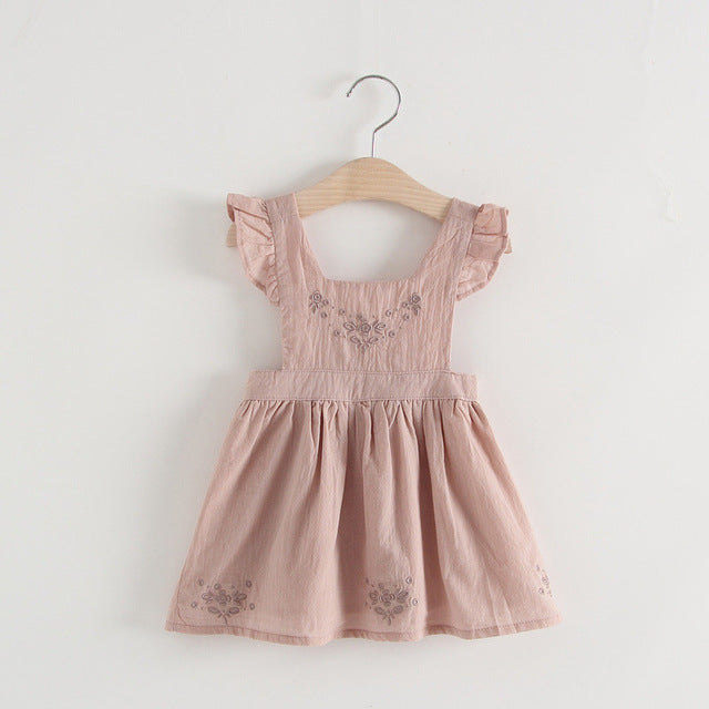 Pinafore Dress Embroidered Toddler Girl