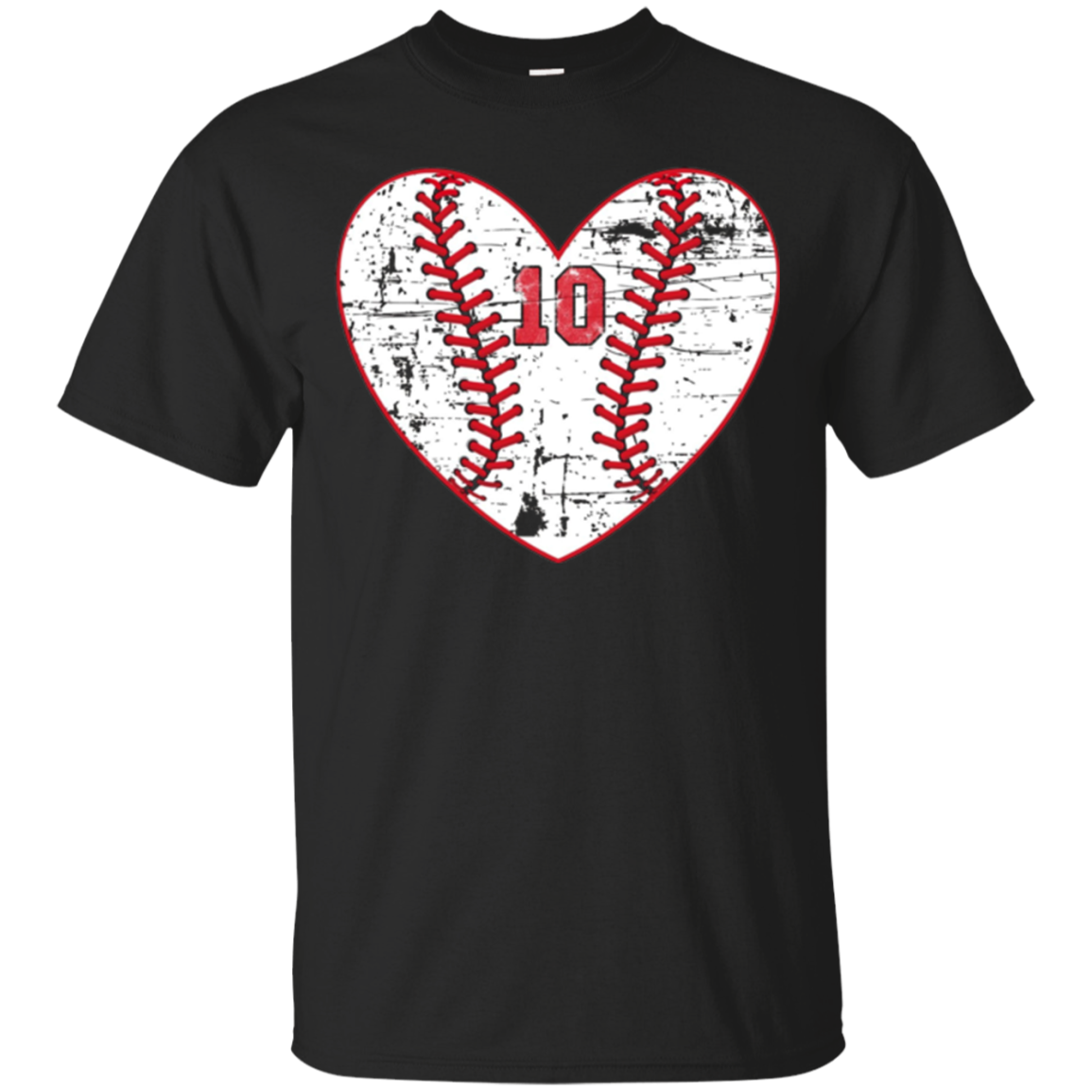 Baseball Distressed Heart Number 10 T-Shirt Sports Gift