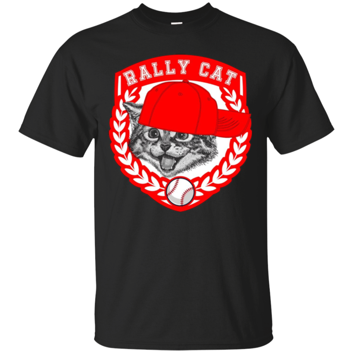 Baseball Red and White Shield and Cap Rally Cat T-Shirt