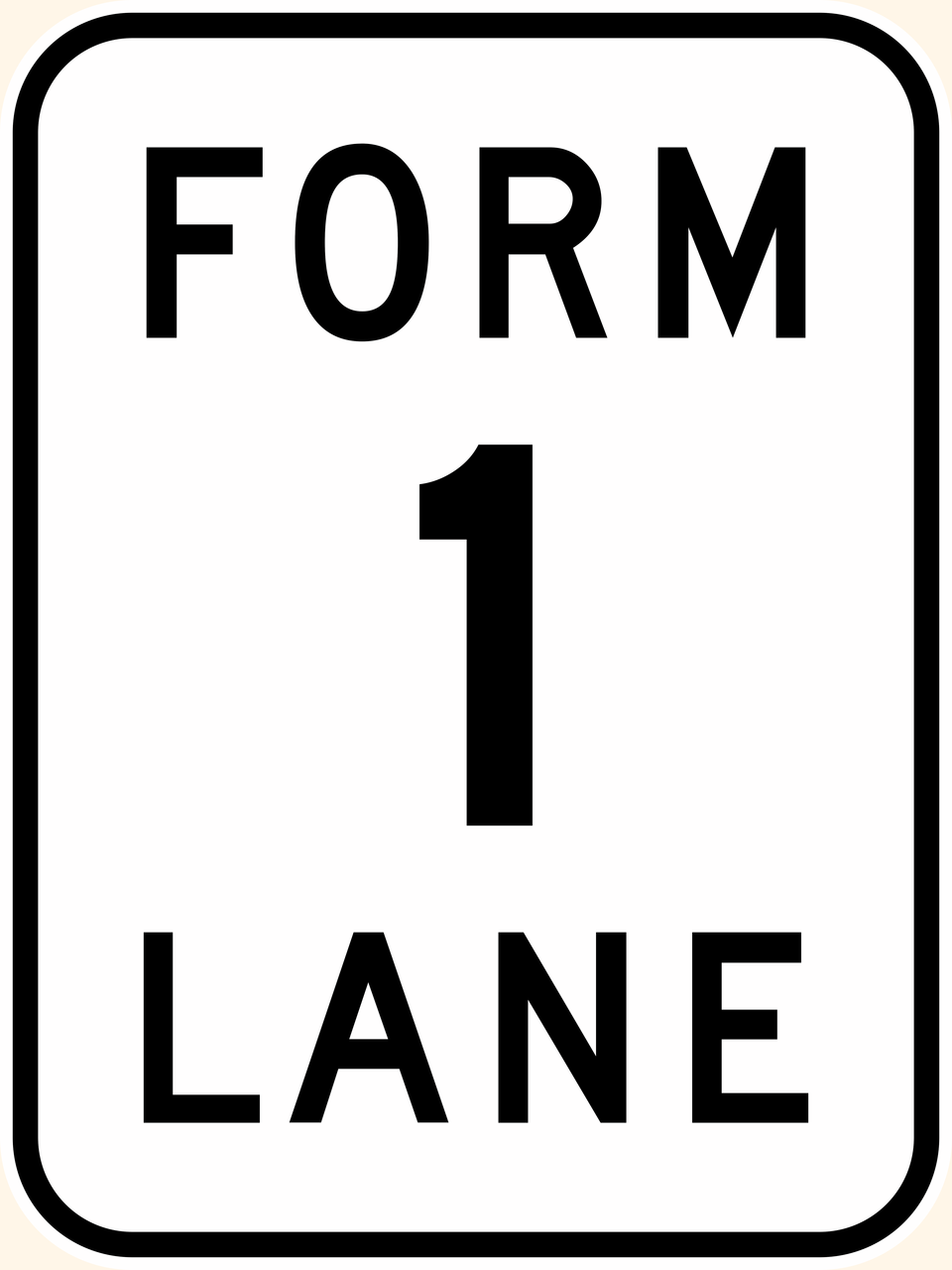 G9-15 Form 2 Lanes Sign - Aluminium