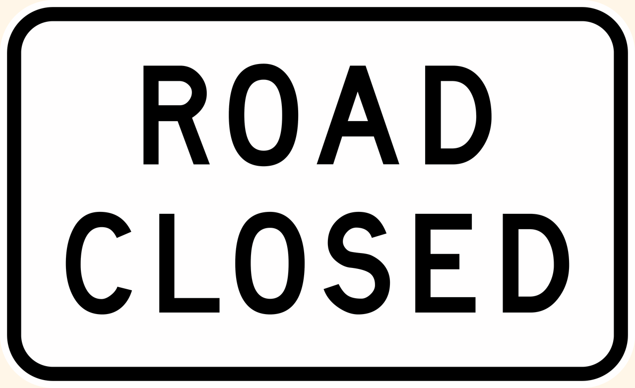 G9-20 Road Closed Sign - Aluminium