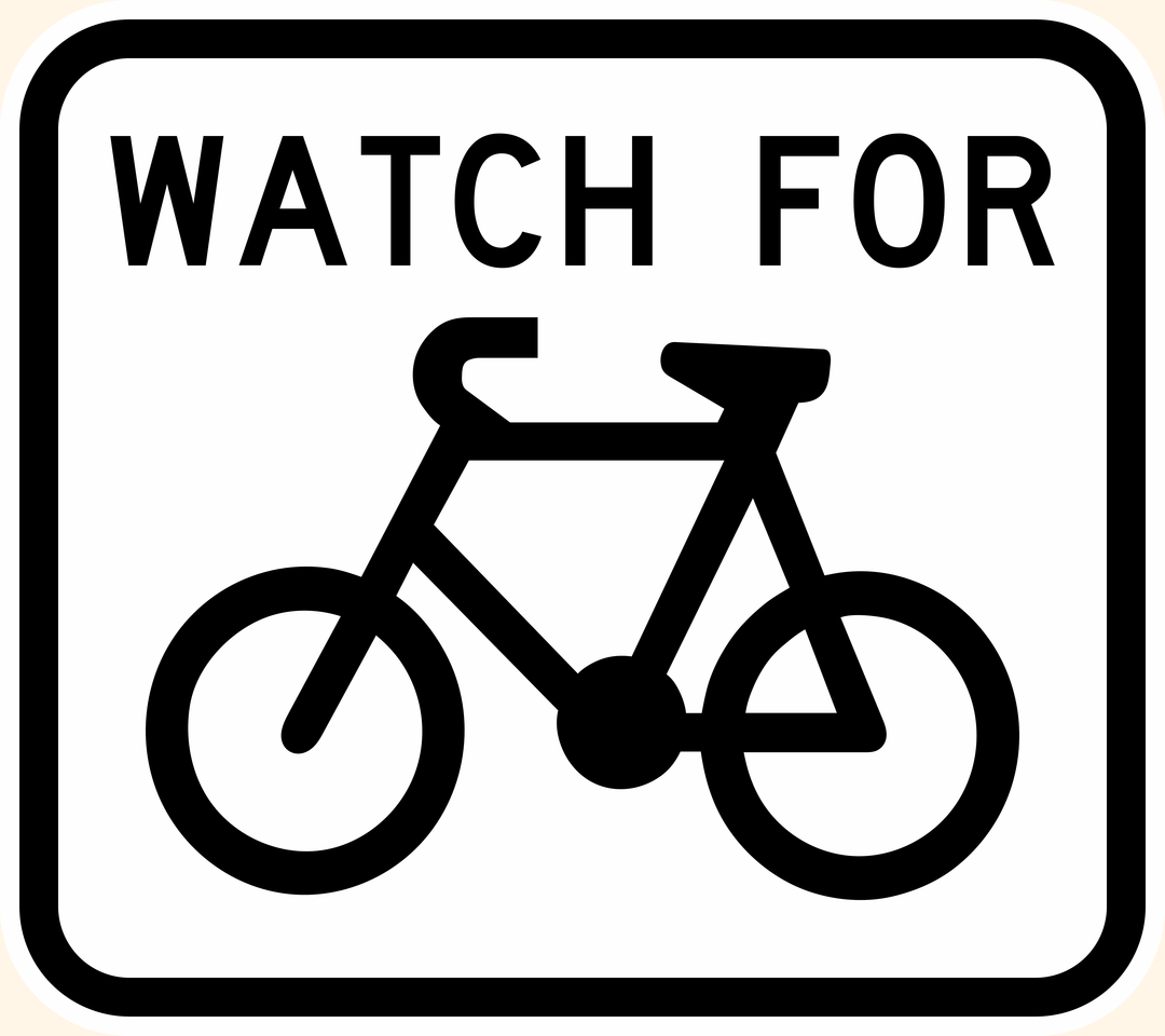 G9-57 Watch For Cyclists Sign - Aluminium