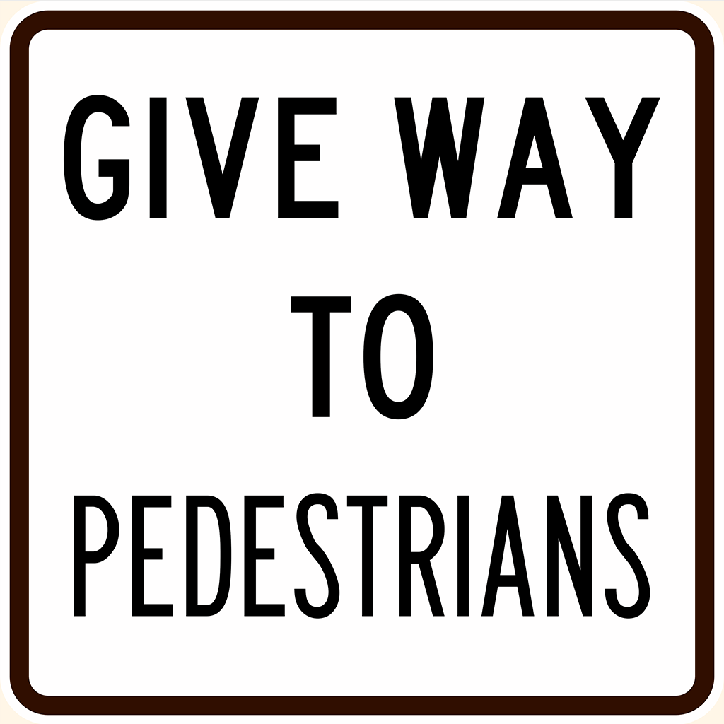 R2-10 Give Way to Pedestrians Sign - Aluminium