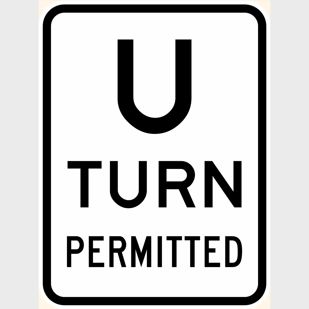 R2-15 U Turn Permitted Sign - Aluminium