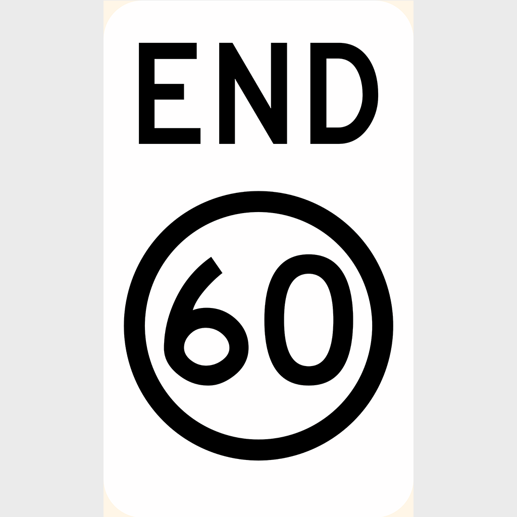 R4-12 End Speed Zone Sign - Aluminium