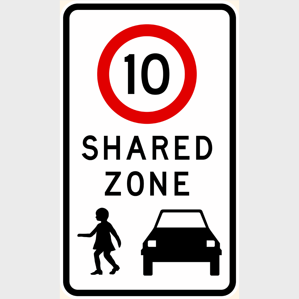 R4-4 10 Speed Zone Shared Zone Sign