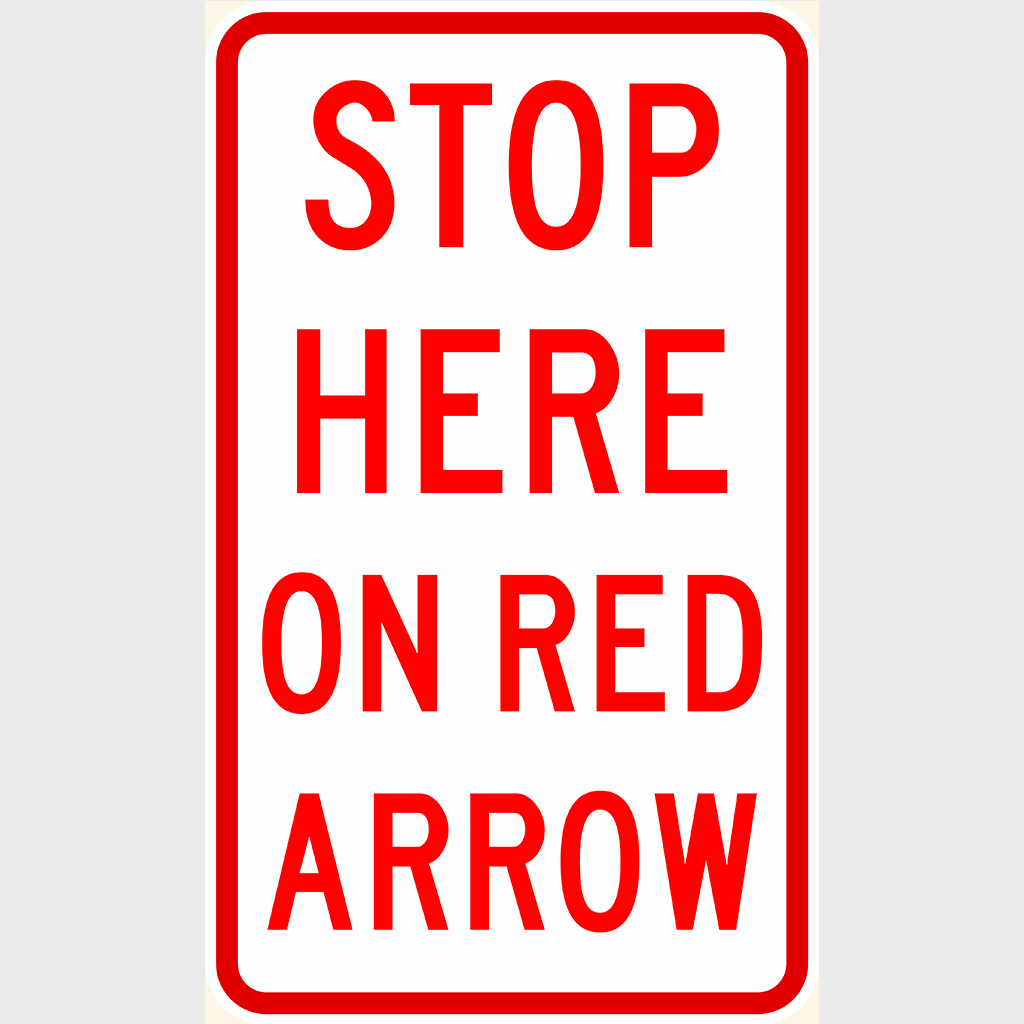 R6-14 Stop Here on Red Arrow Sign - Aluminium