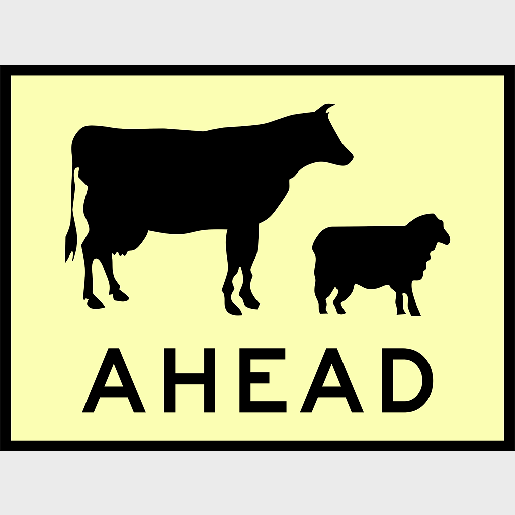 T1-19 Livestock Ahead Sign - Aluminium
