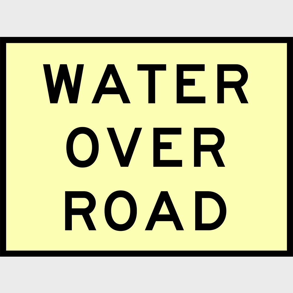 T2-13 Water Over Road Sign - Boxed Edge