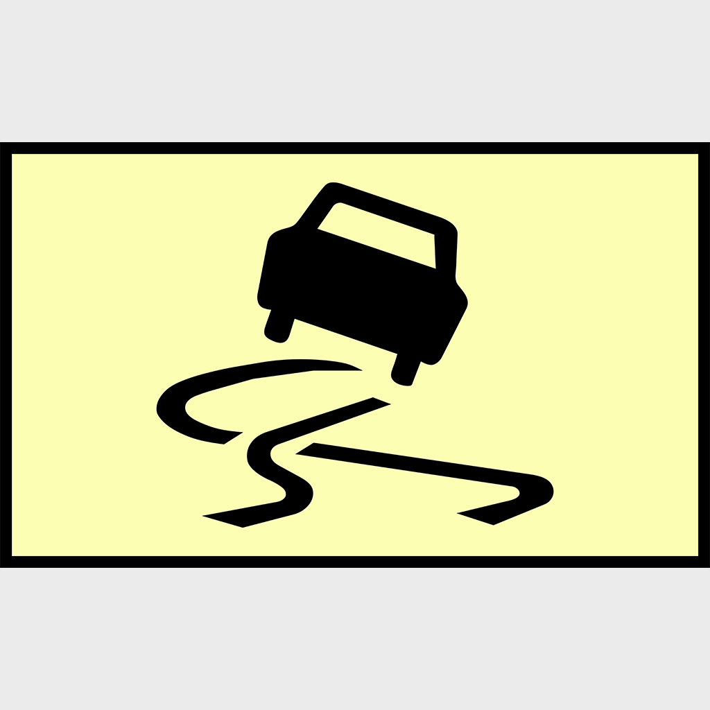 T3-3 Slippery Road Sign - Boxed Edge