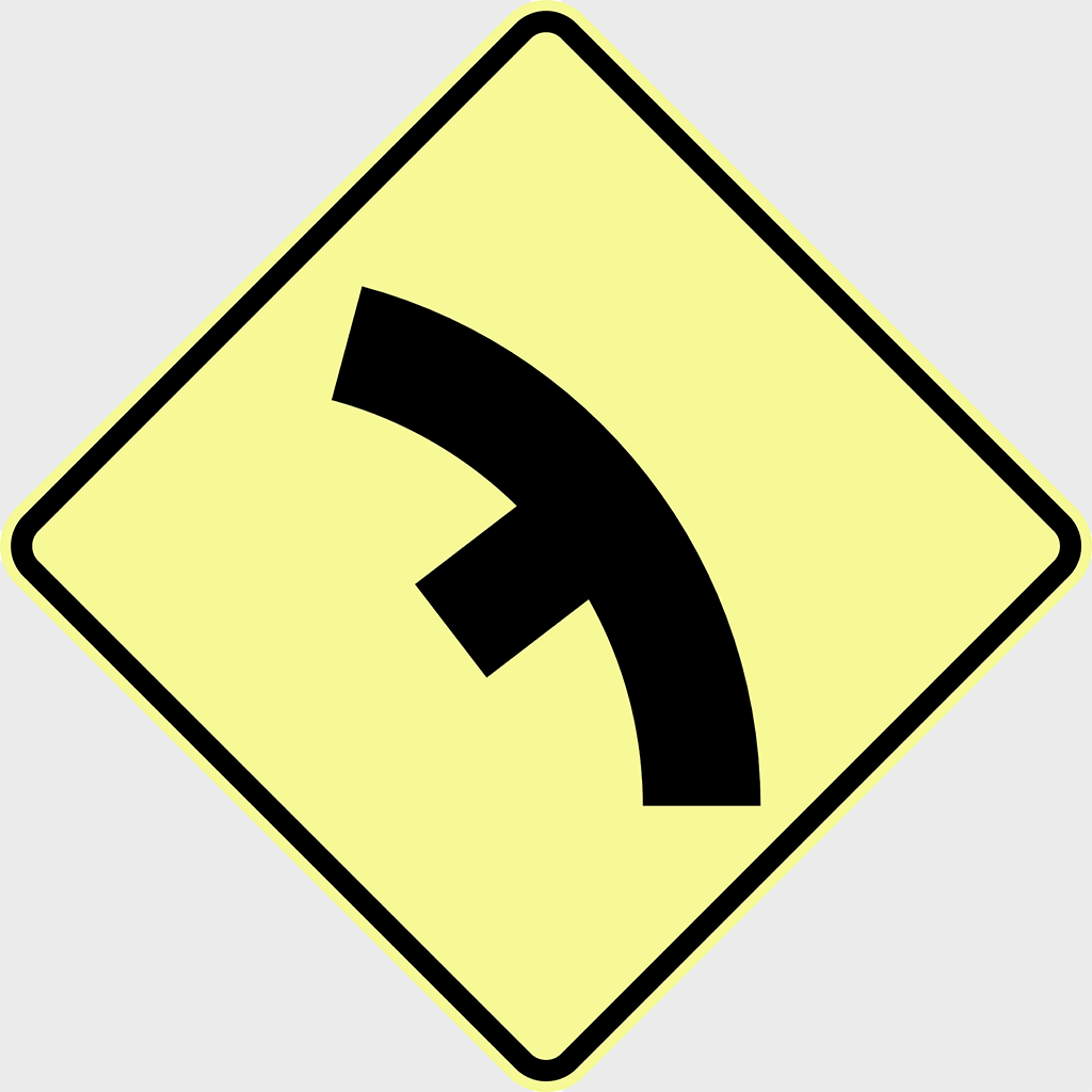 W2-10 Side Road Junction On A Curve Sign - Aluminium