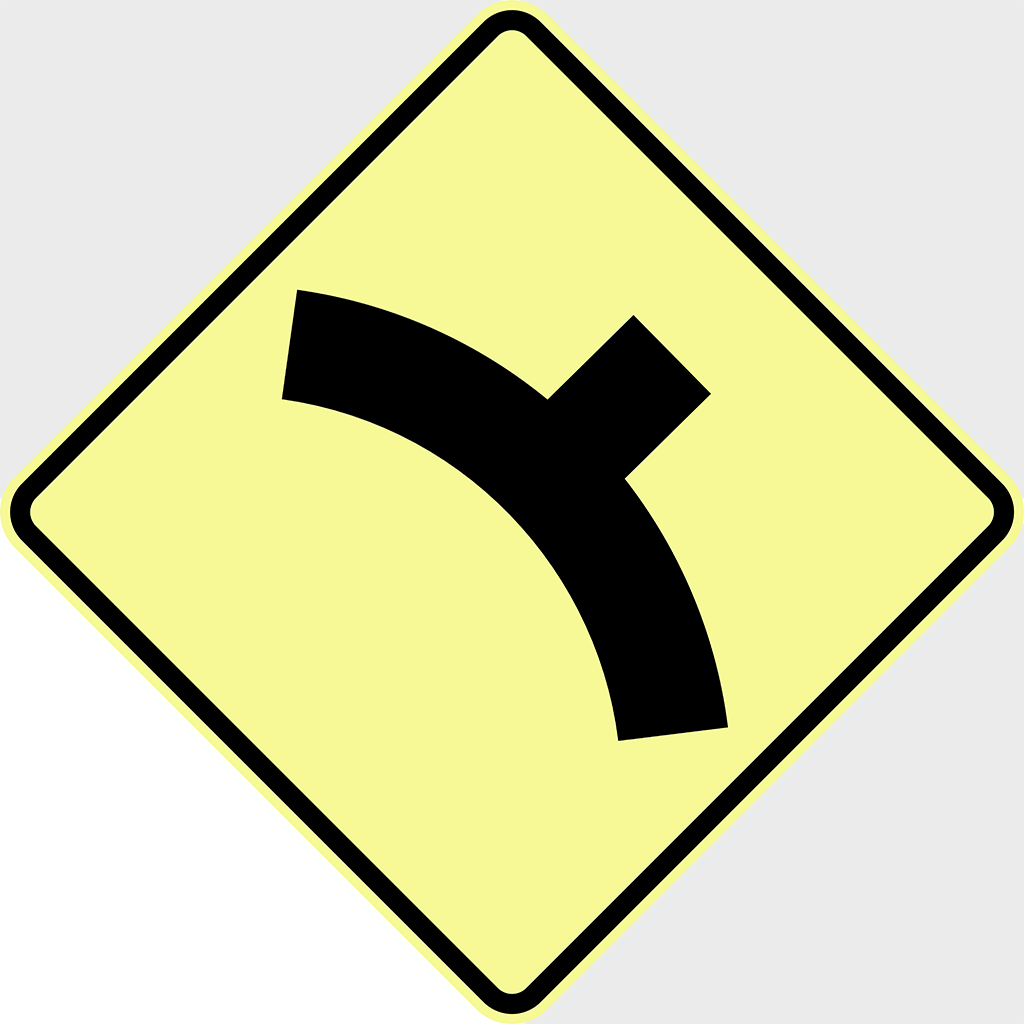 W2-9 Side Road Junction On A Curve Sign - Aluminium