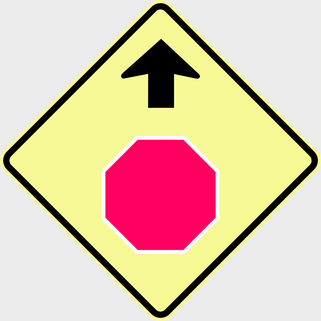 W3-1 Stop Sign Ahead Sign - Aluminium