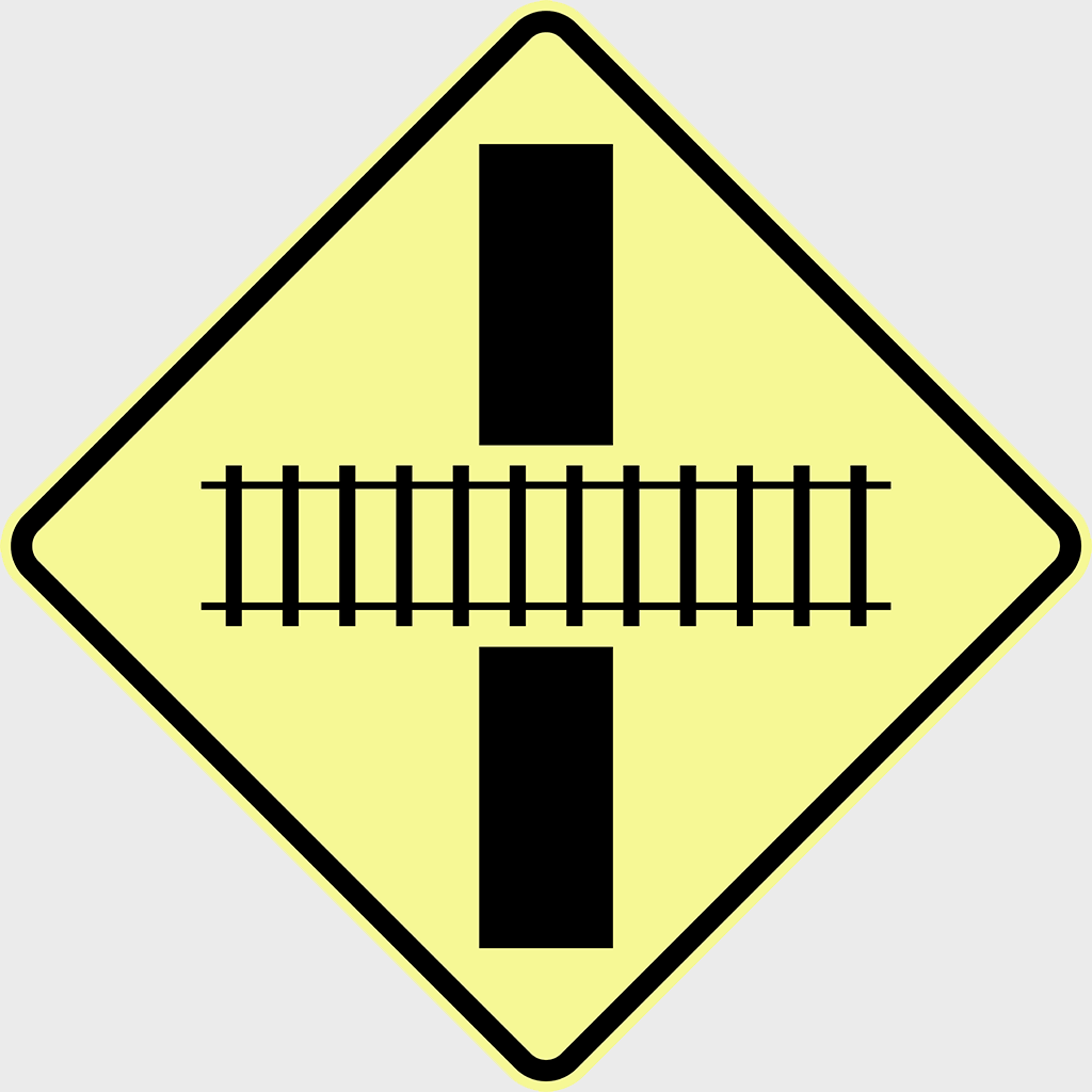 W7-8 Train Crossing Right Angle Sign - Aluminium