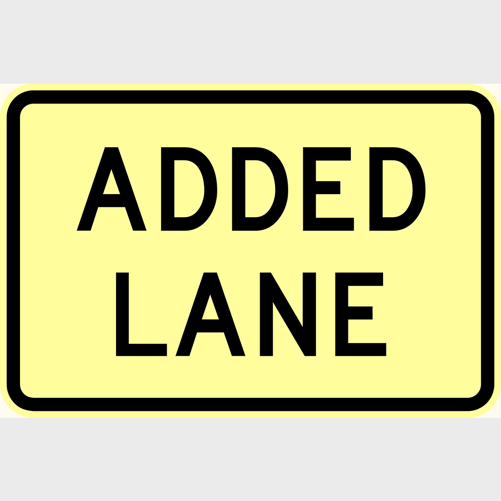 W8-26 Added Lane Sign - Aluminium