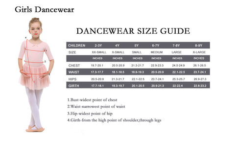 Girls Dancewear Size Guide