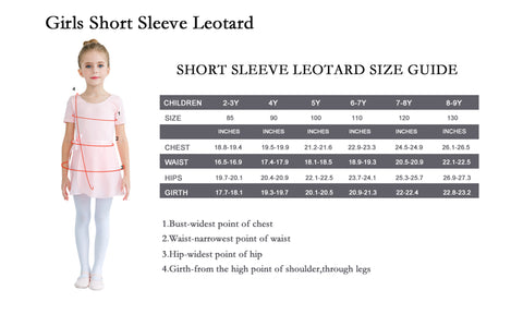 Girls Short Sleeve Leotard Size Guide