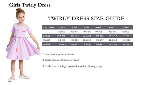 Girls Twirly Dress Size Guide