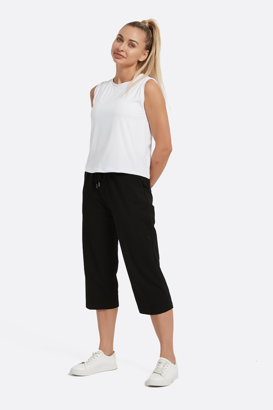 Women's Cotton Capri Pants Crop Sweatpants with Pockets