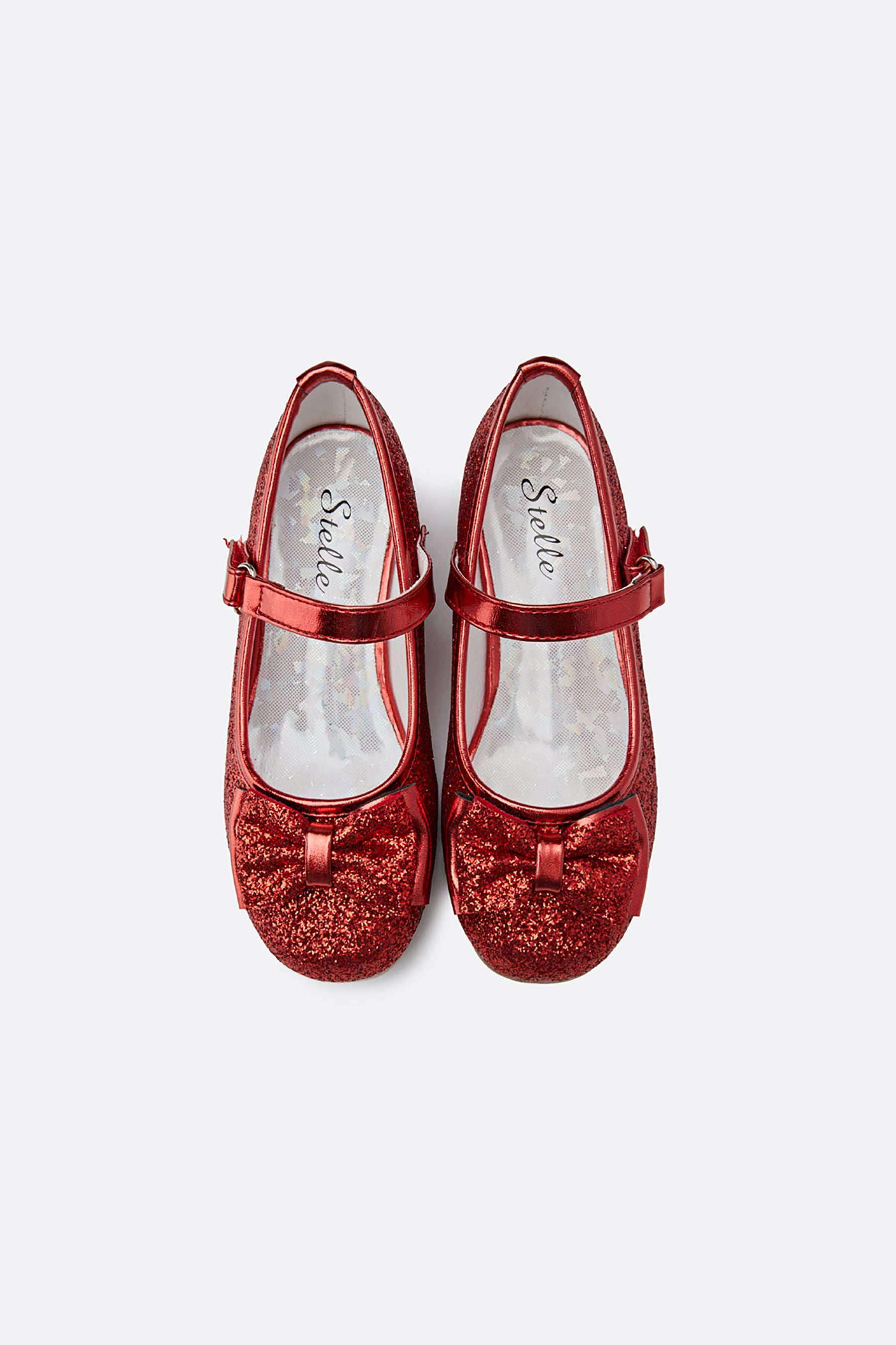 Girls Glitter Mary Jane Low Heel Shoes
