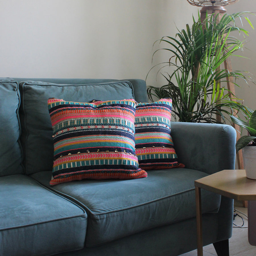 EMBROIDERED CUSHION COVERS - MULTI TEXTURE