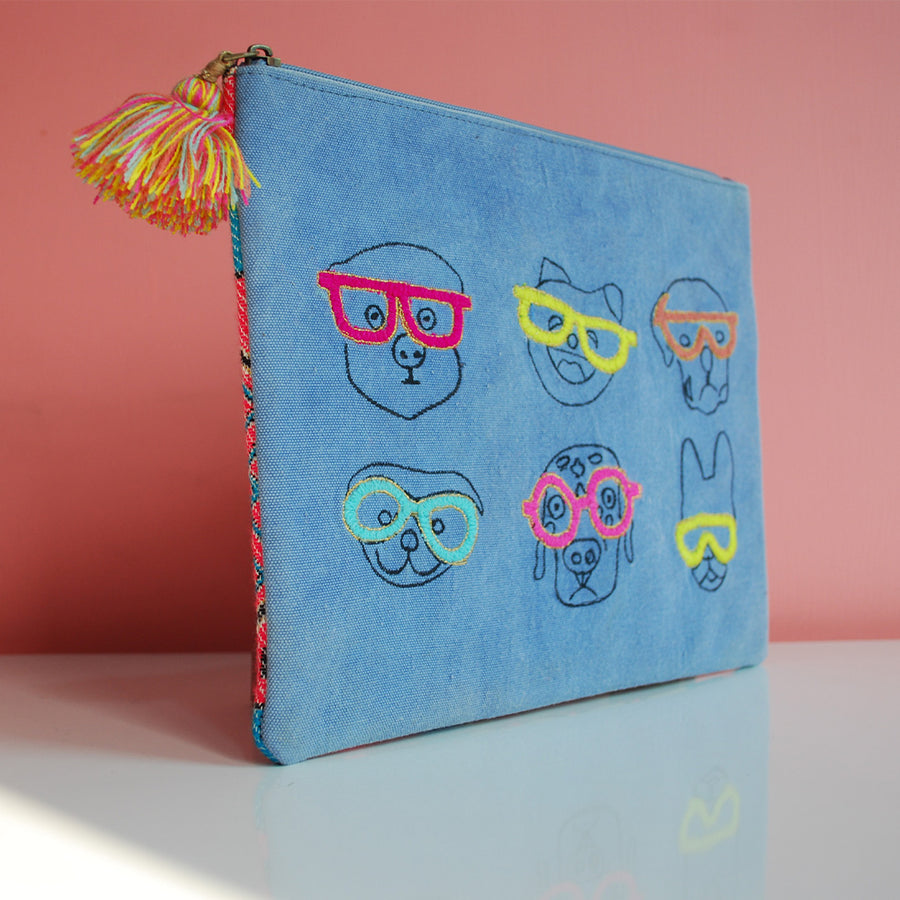 Oversized pouch -Ipad case - Dog Face