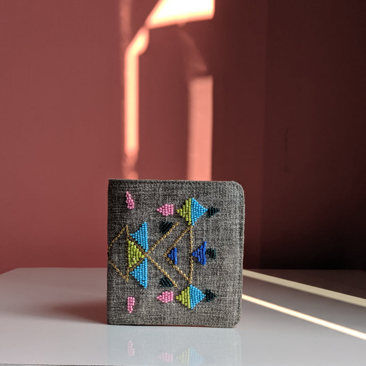 Snap Button wallet - Grey Abstract Beadwork