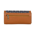 Embroidered Orange Tassel Hand Wallet: Tan
