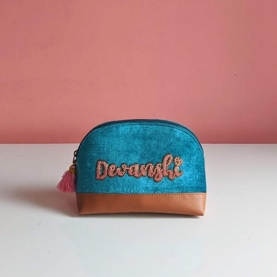 Personalized Teal Velvet Namepouch