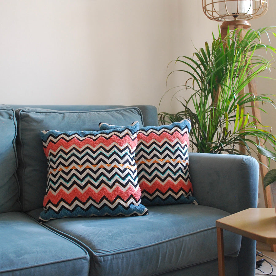 EMBROIDERED CUSHION COVERS - Chevron SQUARE